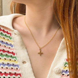 Louis Vuitton upcycled gold monogram flower necklace by Gigi Paris