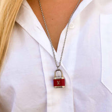 Load the image in the gallery, Louis Vuitton upcycled red padlock necklace