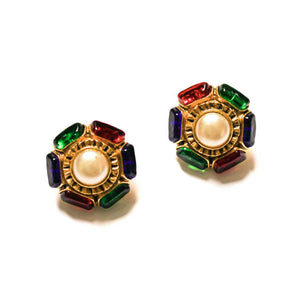 Chanel pearl earrings rimmed colored cabochons from GIGI PARIS