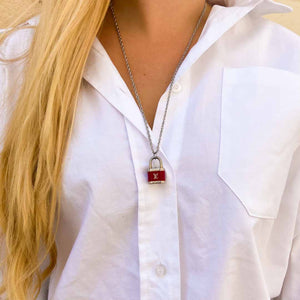 Louis Vuitton upcycled red padlock necklace