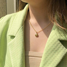 Load the image in the gallery, Louis Vuitton upcycled milk chocolate monogram flower necklace