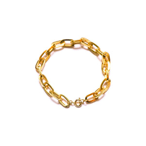 Golden chain bracelet with convict link