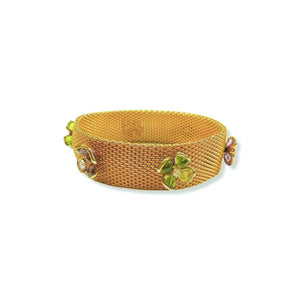 Gripoix bracelet for Chanel Haute Couture gold mesh watch with green and pink flowers in glass paste