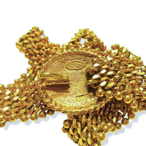 Chanel golden belt in ball and curb knit with patinated horse medallion