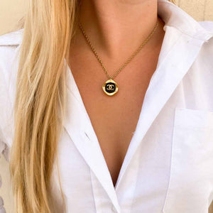 Black and gold Chanel upcycled necklace
