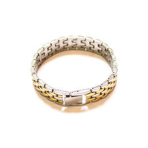 Gold and silver chain bracelet watchband style
