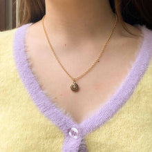 Load the image in the gallery, Upcycled Louis Vuitton fleur de lys chocolate necklace