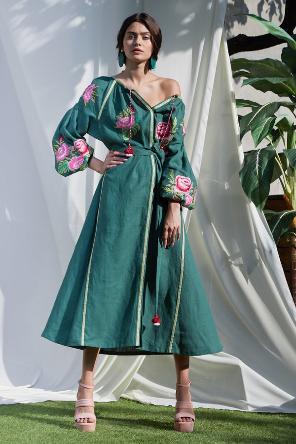CAMELIA GREEN DRESS - dresses - Foberini
