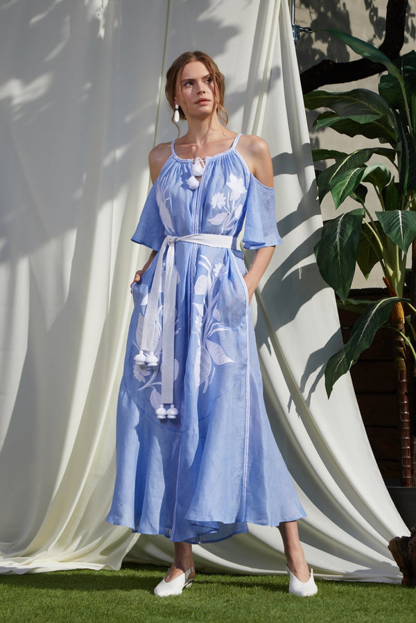 EDEN BLUE MAXI SUNDRESS - dresses - Foberini