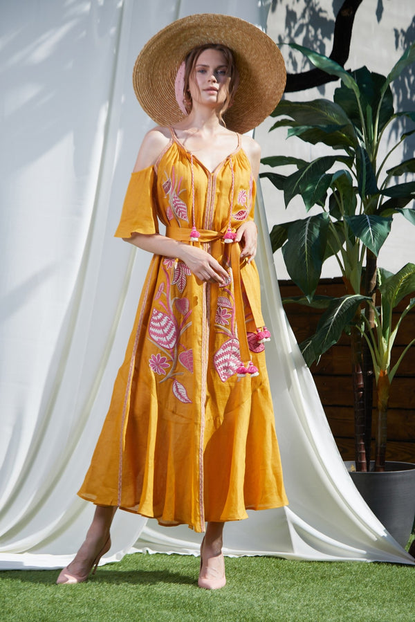 EDEN MUSTARD MAXI DRESS - dresses - Foberini
