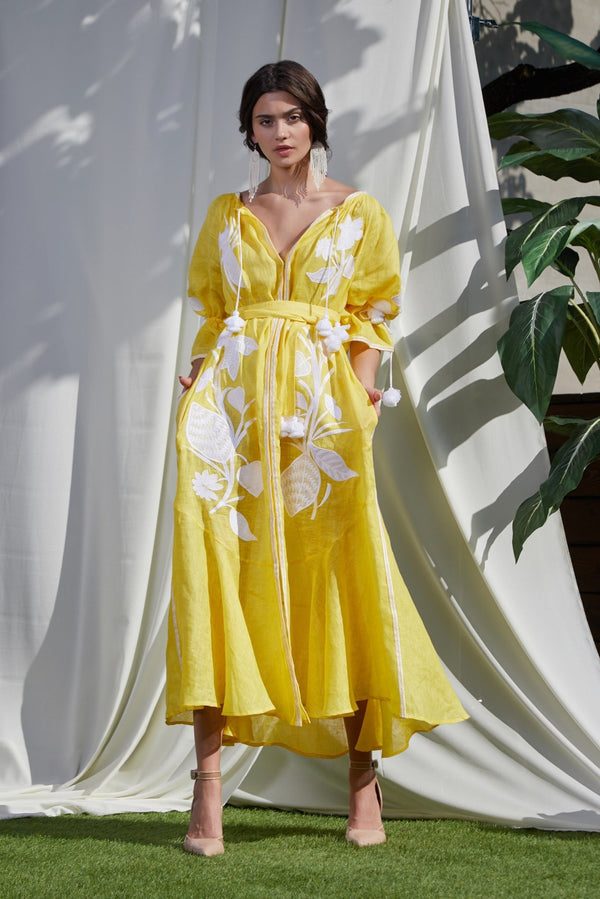 EDEN YELLOW MAXI DRESS - dresses - Foberini