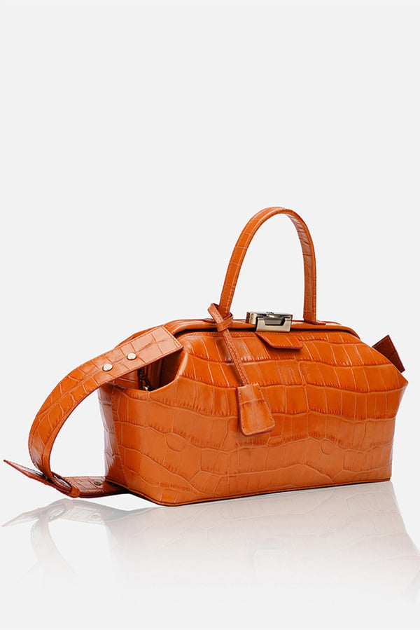 Grie baguette orange crocco leather bag - bags - Grie