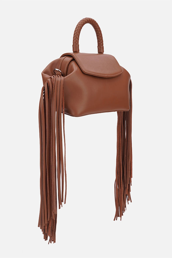 Grie mimi fringe caramel leather bag - bags - Grie