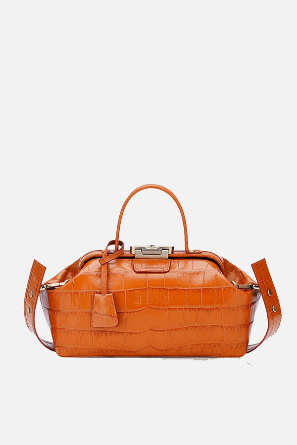 Grie noble orange crocco leather bag - bags - Grie