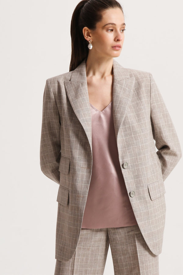 Linen checked jacket - jackets - SHAKO