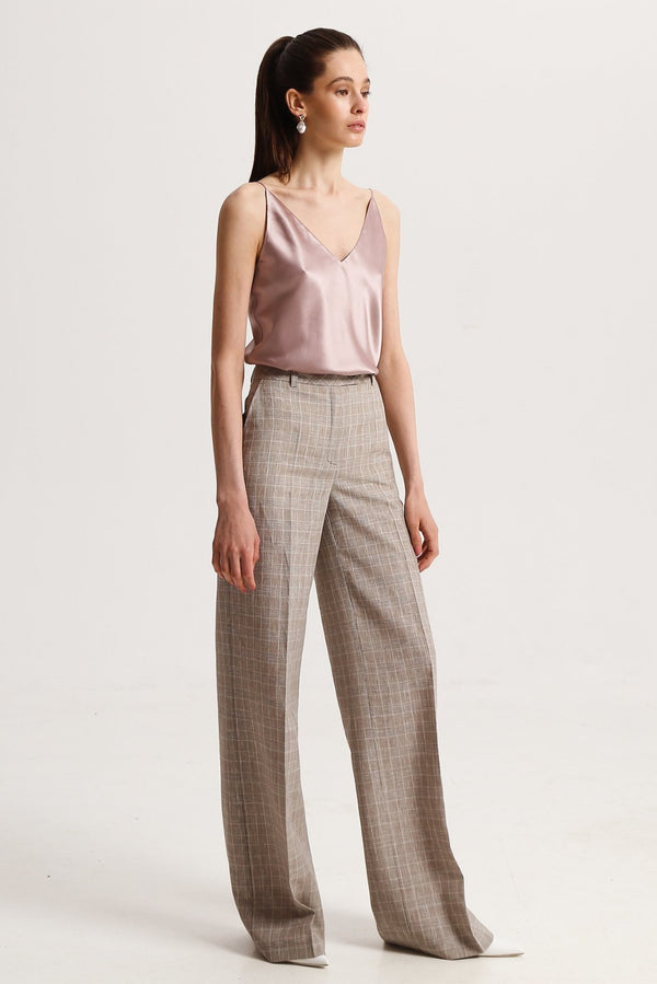 Linen checked trousers - trousers - SHAKO