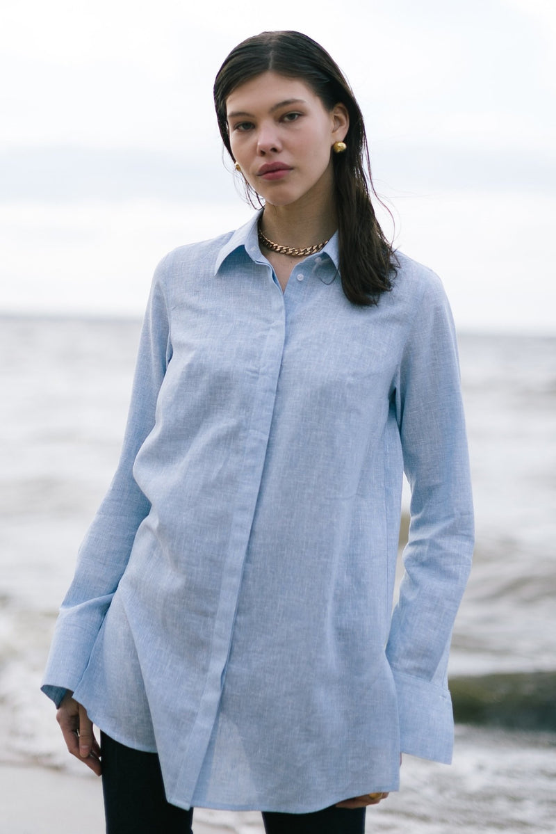 Linen shirt with slits - shirts - SHAKO