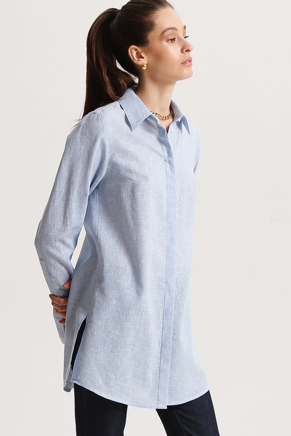 Linen shirt with slits - shirt - SHAKO
