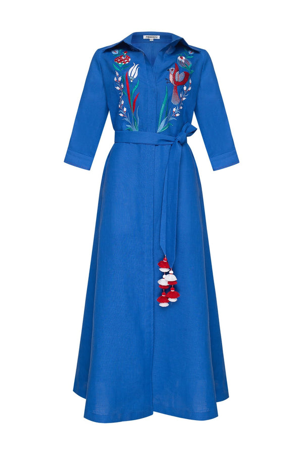 QUEZAL BLUE MAXI DRESS - dresses - Foberini