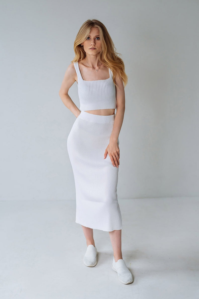 Ribbed knitwear set - sets - Fiore Bianco