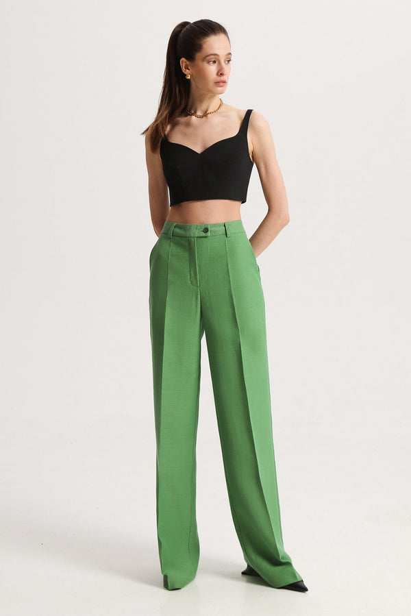 Straight pants green - trousers - SHAKO