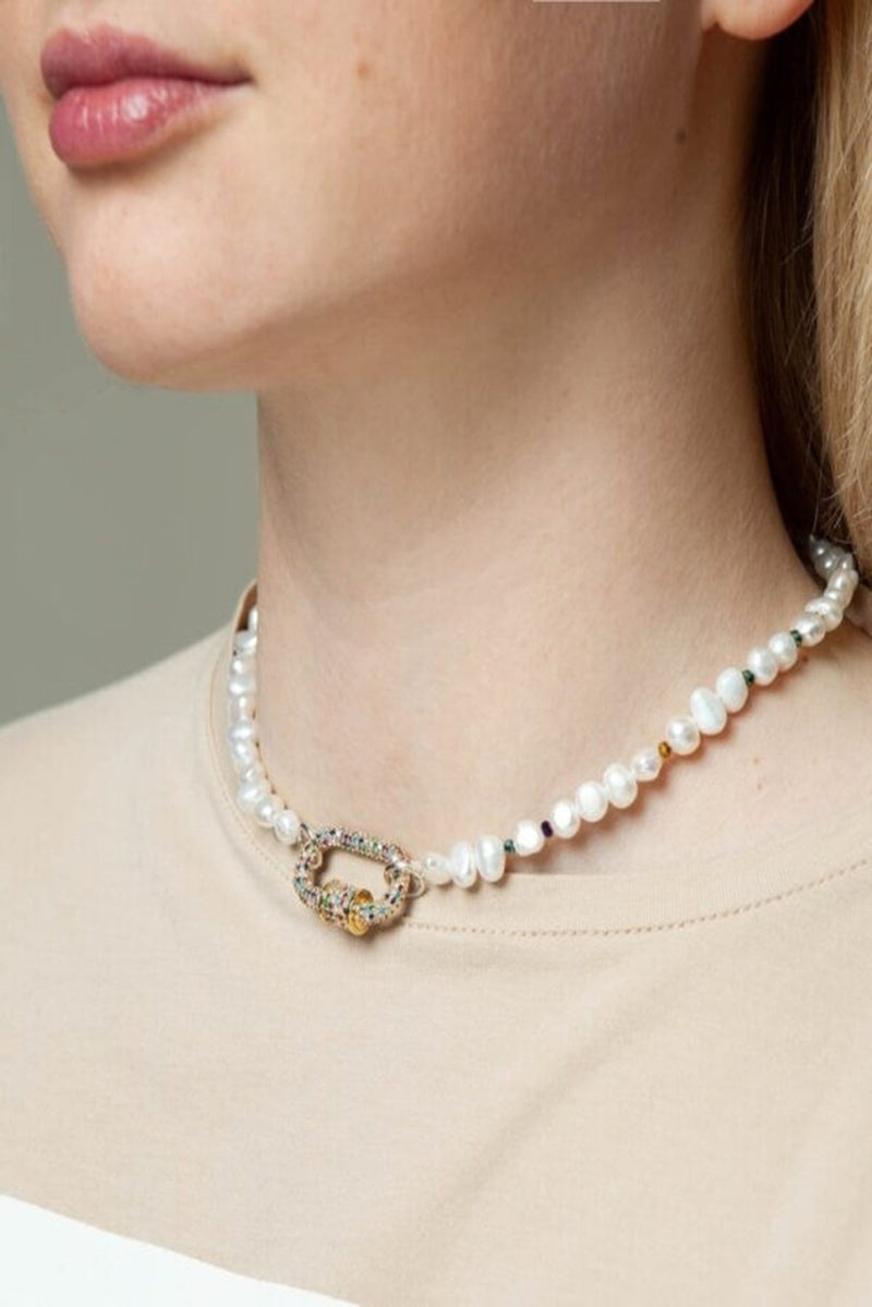 Venice white pearl necklace - necklace - Samokish