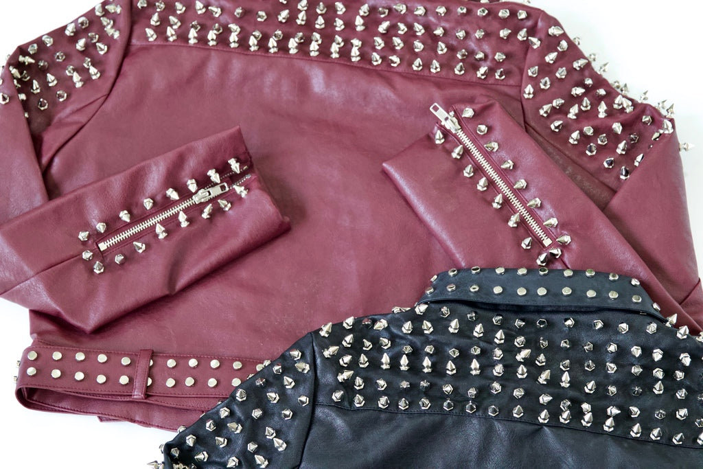 Studded Faux Leather Jacket - Maroon