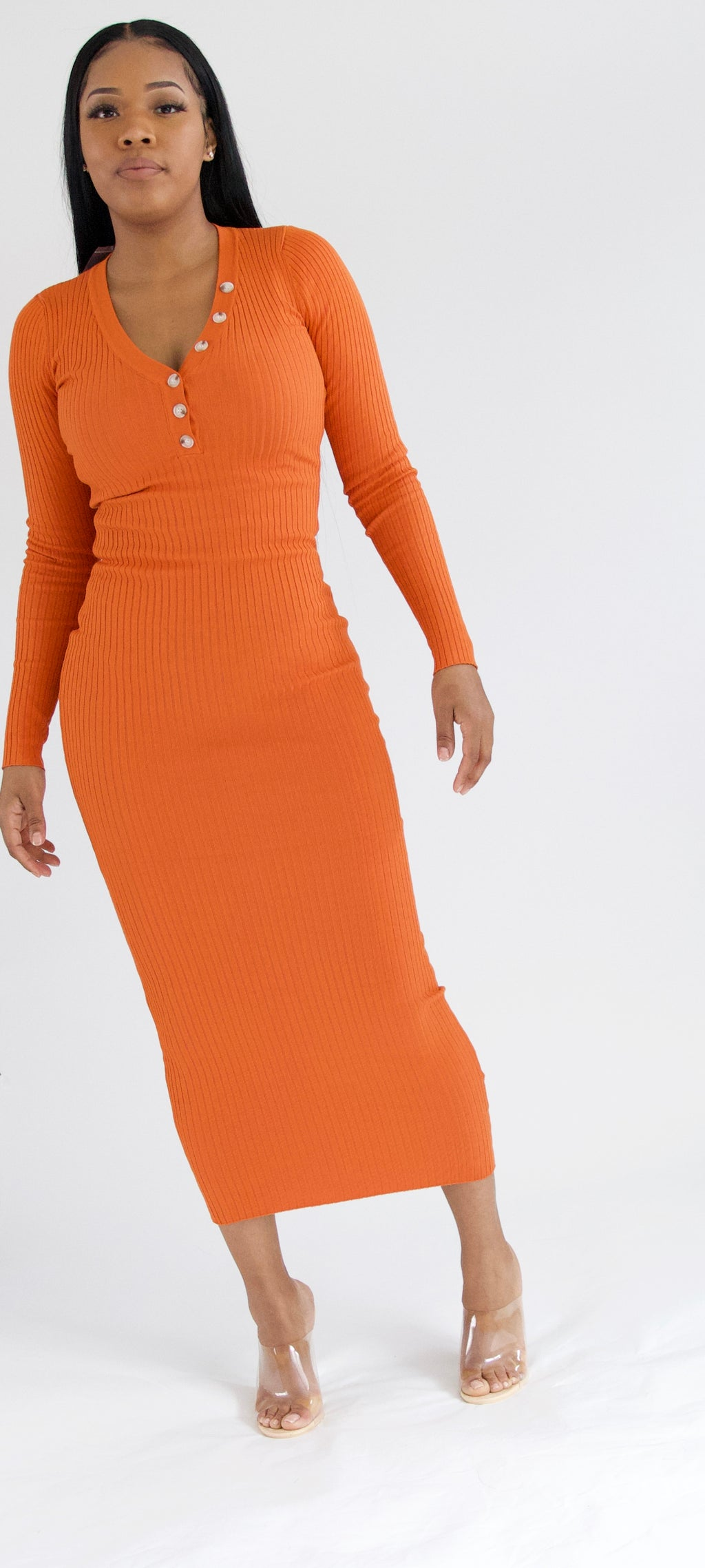 Bodycon Maxi Dress - Orange