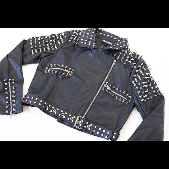 Vegan Spiked Moto Jacket - Black