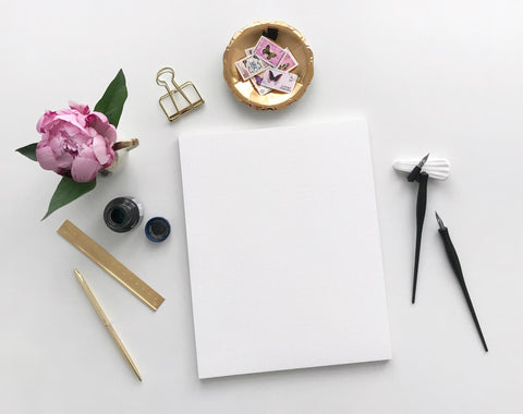 handwritten letter blank page letter and pen flower