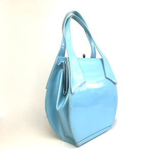 Vintage 60s Large Ice Blue Patent Kelly Bag, Top Handle Bag by Berné Made In California USA-Vintage Handbag, Kelly Bag-Brand Spanking Vintage