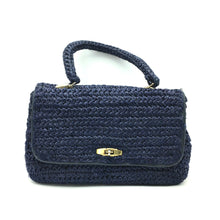 Load image into Gallery viewer, Vintage 60s Large Boxy Navy Raffia Handbag with Gilt Postman's Lock-Vintage Handbag, Large Handbag-Brand Spanking Vintage