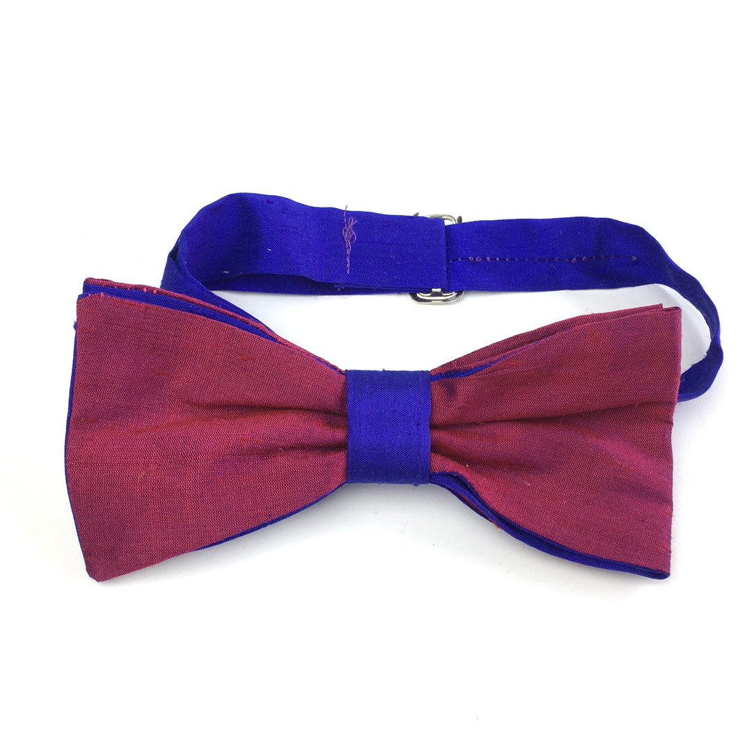 Vintage Silk Handmade Pre Tied Adjustable Bow Tie in Claret Red and Cobalt Blue by Hocus Pocus-Accessories, For Him-Brand Spanking Vintage