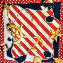 Load image into Gallery viewer, Vintage Echo Large Silk Scarf in Nautical Design with Polka Dot Border in Red/Blue/Gold-Scarves-Brand Spanking Vintage