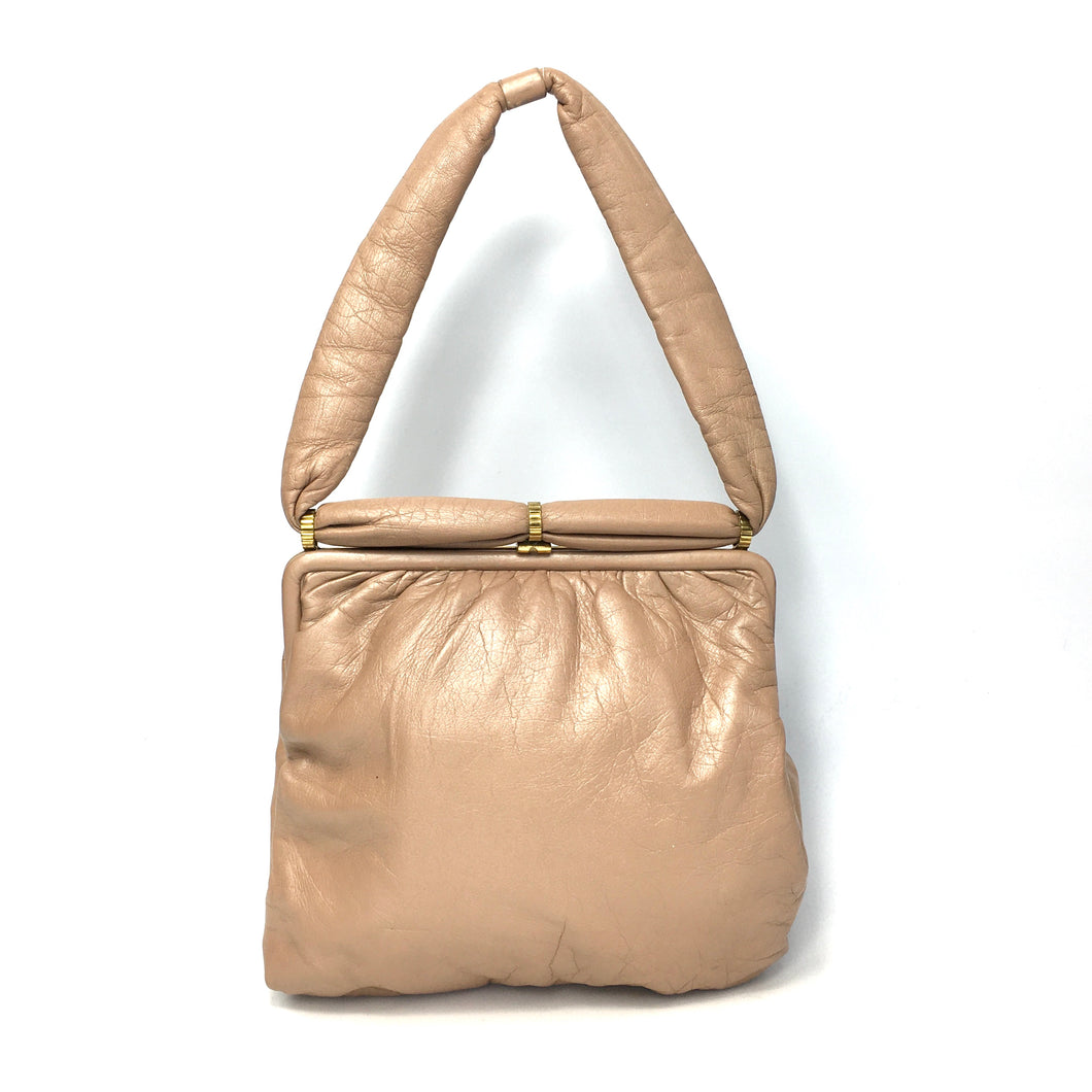 Vintage 50s 60s Mink Taupe Leather Dolly Bag by Jane Shilton Made in England-Vintage Handbag, Dolly Bag-Brand Spanking Vintage