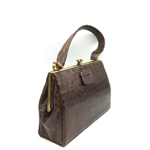 Vintage 50s Milk Chocolate Crocodile Skin Kelly Bag/ Top Handle Bag w/ Exquisite Clasp, Crocodile Pull Tab And Longer Handle-Vintage Handbag, Exotic Skins-Brand Spanking Vintage