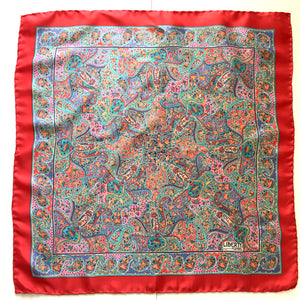 Vintage Liberty of London Silk Scarf in Classic Paisley Design in Vibrant Reds, Blues, Pink, Green and Yellow-Scarves-Brand Spanking Vintage