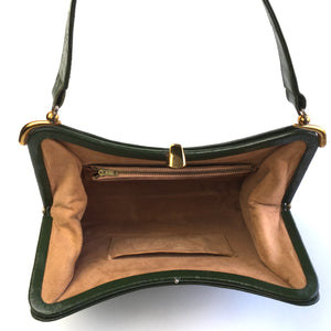 Vintage 50s 60s Classic Dark Olive Green Leather Kelly Bag Top Handle Bag with Gilt Clasp and Suede Lining-Vintage Handbag, Kelly Bag-Brand Spanking Vintage
