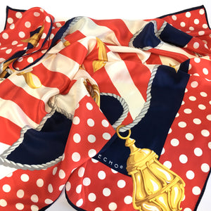 Vintage Echo Large Silk Scarf in Nautical Design with Polka Dot Border in Red/Blue/Gold-Scarves-Brand Spanking Vintage