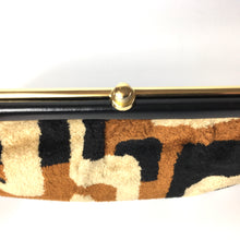 Load image into Gallery viewer, Vintage 70s Rare Weymouth American Chenille Folding Handle Clutch Bag in Beige/Rust/Black-Vintage Handbag, Clutch Bag-Brand Spanking Vintage