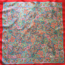 Load image into Gallery viewer, Vintage Liberty of London Silk Scarf in Classic Paisley Design in Vibrant Reds, Blues, Pink, Green and Yellow-Scarves-Brand Spanking Vintage