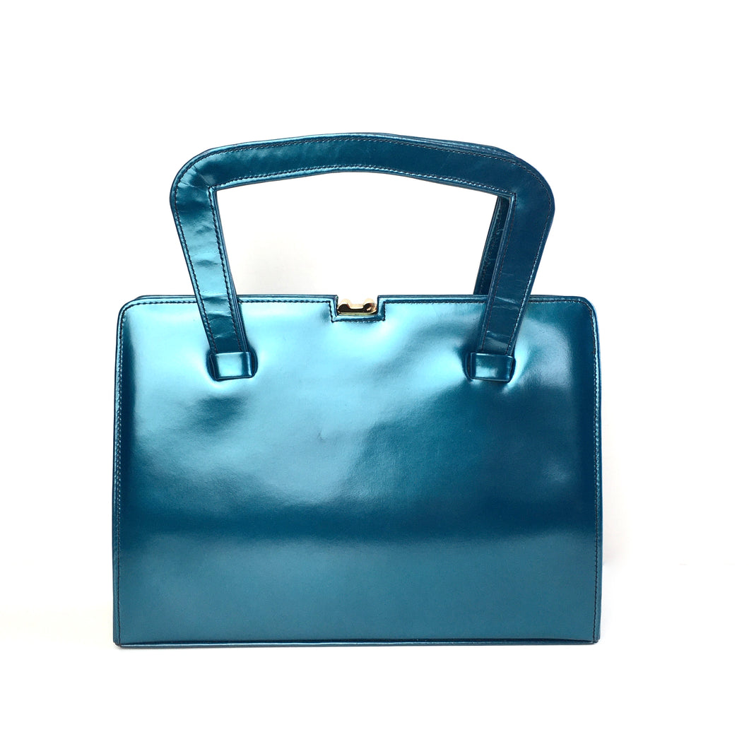 Vintage 50s 60s Stunning Kingfisher Blue/Green Pearlescent Leather Handbag Kelly Bag by Meadows Regent Street London-Vintage Handbag, Kelly Bag-Brand Spanking Vintage
