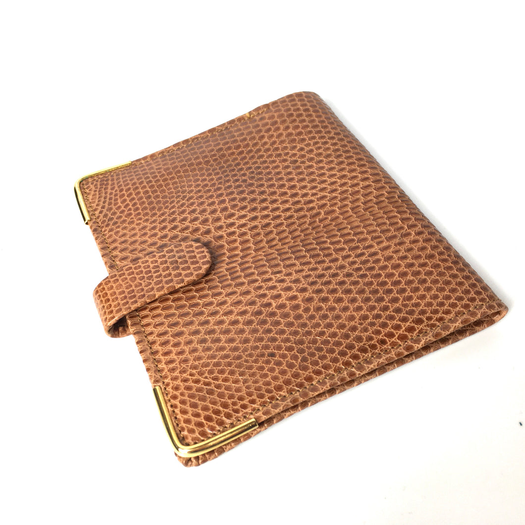 Vintage 50s Unused Caramel Tan Genuine Lizard Skin and Calf Leather Wallet-Accessories, For Her-Brand Spanking Vintage