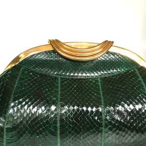 Vintage 70s/80s Large Emerald Green Snakeskin Gilt Clasp Clutch Bag w/ Fold Out Gilt Chain by Melluso, Made in Italy-Vintage Handbag, Exotic Skins-Brand Spanking Vintage