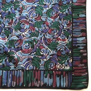 Vintage Liberty of London Silk Scarf in Modernist Circles Design in Black, Blues, Green, Ivory and Wine Made in England-Scarves-Brand Spanking Vintage
