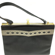Load image into Gallery viewer, Vintage 50s 60s Dark Brown and Beige Patent Leather Kelly Bag Made in England for Clarks-Vintage Handbag, Kelly Bag-Brand Spanking Vintage