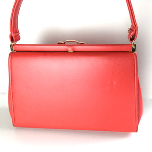 Vintage 60s Lipstick Red Kelly Bag in Faux Leather-Vintage Handbag, Kelly Bag-Brand Spanking Vintage