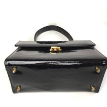 Load image into Gallery viewer, Vintage 60s Black Patent Leather Jackie O Style Top Handle Kelly Bag by Mastercraft Made in Canada-Vintage Handbag, Kelly Bag-Brand Spanking Vintage