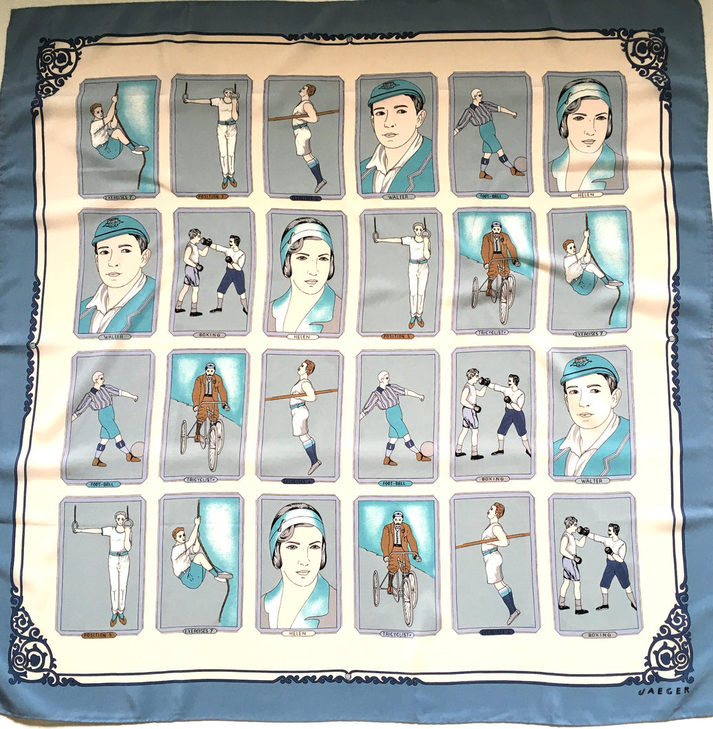 Vintage Large Jaeger Silk Scarf in Blues/Cream/Grey Featuring Vintage Sports-Scarves-Brand Spanking Vintage