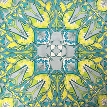 Load image into Gallery viewer, Large Liberty of London Silk Scarf in Ianthe Design in Turquoise Blue, Lime Green, Teal and Ivory Made in Italy-Scarves-Brand Spanking Vintage